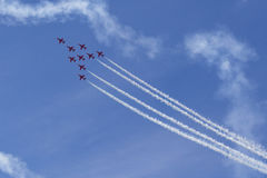RAF Red Arrows in BAE Hawk T1 trainers Stock Photos