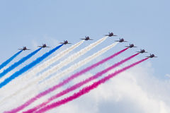 RAF Red Arrows in BAE Hawk T1 trainers Royalty Free Stock Photo