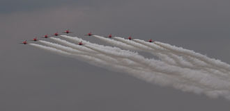 RAF Red Arrows Display Team. Arrival of the British RAF Red Arrows Display Team at Biggin Hill airshow, June 2016 on a stormy day Stock Image