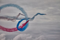 RAF Red Arrows Display Team. British RAF Red Arrows Display Team at Biggin Hill airshow, June 2016 on a stormy day Stock Photo
