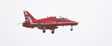 RAF Red Arrows Display Team. British RAF Red Arrows Display Team at Biggin Hill airshow, June 2016 on a stormy day Stock Images
