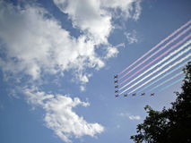 RAF Red Arrows display team in flight Stock Photo