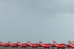 RAF Red Arrows 2016 display team lined up Stock Photography