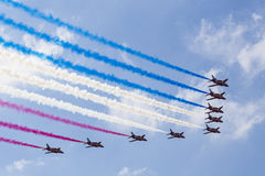 RAF Red Arrows em instrutores do T1 de BAE Hawk Imagem de Stock