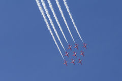 RAF Red Arrows em instrutores do T1 de BAE Hawk Foto de Stock