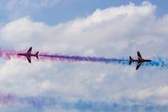 RAF Red Arrows em instrutores do T1 de BAE Hawk Imagem de Stock
