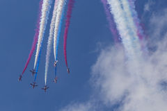 RAF Red Arrows em instrutores do T1 de BAE Hawk Imagem de Stock Royalty Free