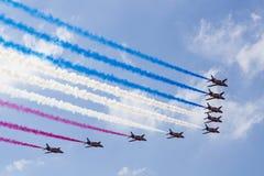 RAF Red Arrows en entraîneurs de T1 de BAE Hawk Image stock