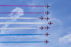 RAF Red Arrows en entraîneurs de T1 de BAE Hawk Images libres de droits