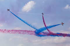 RAF Red Arrows en entraîneurs de T1 de BAE Hawk Images stock