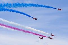 RAF Red Arrows en instructores del T1 de BAE Hawk Foto de archivo libre de regalías