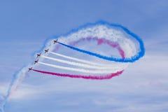 RAF Red Arrows en instructores del T1 de BAE Hawk Imagenes de archivo
