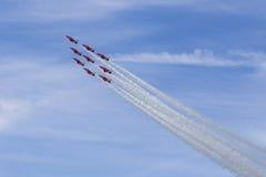 RAF Red Arrows negli istruttori del T1 di BAE Hawk Immagine Stock Libera da Diritti