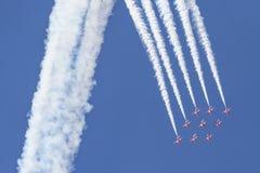 RAF Red Arrows negli istruttori del T1 di BAE Hawk Immagine Stock