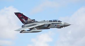 RAF Tornado Gr4. He Tornado GR4 is a two-seat, all-weather, day/night attack and reconnaissance aircraft. It has been in service with the RAF for more than 30 royalty free stock image