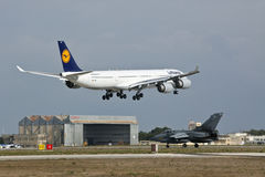 RAF Tornado and Lufthansa A340 Stock Image