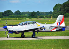 RAF Tucano in 2011 Display Colours. Pictured at RAF Linton on Ouse with display pilot FL LT Dan Hayes Stock Image