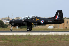 RAF Tucano in Black Scheme. Luqa, Malta September 25, 2014: Royal Air Force Short S-312 Tucano T1 [ZF317] landing runway 31 to participate in the airshow the Royalty Free Stock Images