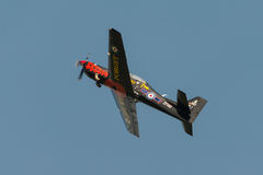 Raf Tucano trainer aircraft. Abingdon, UK - May 4th 2014: RAF Tucano in special paint scheme seen at Abingdon Air Show Royalty Free Stock Image
