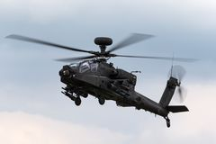 AgustaWestland WAH-64D Apache AH1 Attack helicopter ZJ 172 of the British Army Air Corps. stock photo