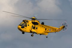 Royal Air Force Westland Sea King HAR3 search and rescue helicopter XZ595 from 202 squadron based at RAF Valley. RAF Waddington, Lincolnshire, UK - July 5, 2014 stock photo