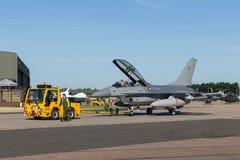 Royal Danish Air Force General Dynamics F-16BM `Fighting Falcon` fighter aircraft ET-614. RAF Waddington, Lincolnshire, UK - July 7, 2014: Royal Danish Air Royalty Free Stock Photography