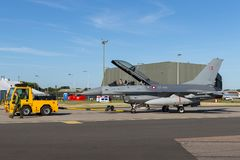 Royal Danish Air Force General Dynamics F-16BM `Fighting Falcon` fighter aircraft ET-614. RAF Waddington, Lincolnshire, UK - July 7, 2014: Royal Danish Air Stock Image