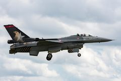 Turkish Air Force General Dynamics F-16CG Fighting Falcon 90-0011 of the `Solo Turk` display team. RAF Waddington, Lincolnshire, UK - July 4, 2014: Turkish Air Stock Image