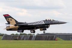 Turkish Air Force General Dynamics F-16CG Fighting Falcon 91-0011 of the `Solo Turk` display team. RAF Waddington, Lincolnshire, UK - July 4, 2014: Turkish Air Stock Photo