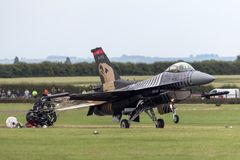 Turkish Air Force General Dynamics F-16CG Fighting Falcon 91-0011 of the `Solo Turk` display team. RAF Waddington, Lincolnshire, UK - July 4, 2014: Turkish Air Stock Image