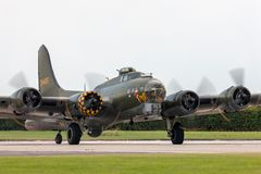 World War II era Boeing B-17 Flying Fortress bomber aircraft `Sally B` G-BEDF. Stock Photos