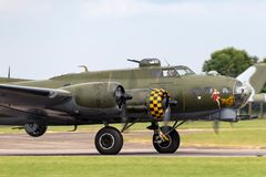 World War II era Boeing B-17 Flying Fortress bomber aircraft `Sally B` G-BEDF. Royalty Free Stock Photo