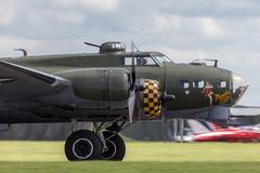 World War II era Boeing B-17 Flying Fortress bomber aircraft `Sally B` G-BEDF. Royalty Free Stock Photography