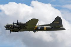 World War II era Boeing B-17 Flying Fortress bomber aircraft `Sally B` G-BEDF. Stock Images