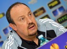 Rafa Benitez пресс-конференции Челси стоковая фотография rf