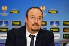 Rafa Benitez пресс-конференции Челси стоковые изображения
