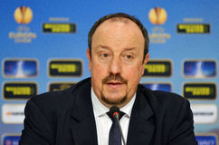 Rafa Benitez van Chelsea Press Conference Royalty-vrije Stock Fotografie