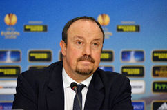 Rafa Benitez von Chelsea Press Conference Stockbilder