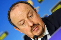 Rafa Benitez von Chelsea Press Conference Stockfotos