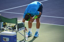 Rafa Nadal Ritual with his water bottles court side Royalty Free Stock Images