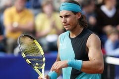 Rafa Nadal gesturing during match in mallorca stock images