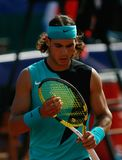 Rafa Nadal gesturing during match in mallorca vertical stock images