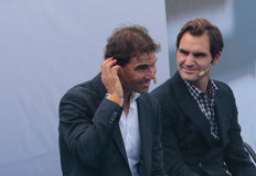 Rafa Nadal and Roger Federer gesturing Royalty Free Stock Photos