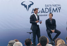 Rafa Nadal and Roger Federere at Nadal Academy Stock Photos