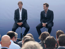 Rafa Nadal and Roger Federere at Nadal Academy Royalty Free Stock Images