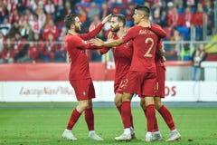 Rafa Silva! 7 e equipe da alegria de Portugal após ter marcado o objetivo imagens de stock royalty free