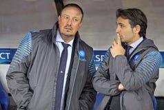 Rafael BenÃtez und Fabio Pecchia von SSC Napoli Stockbilder