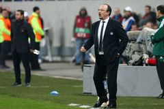 Steaua Bucharest - Chelsea London. Rafael Benitez reacts, during the football match, counting for the 2014 EUFA Europa League round of 8, first leg, between Royalty Free Stock Image