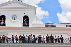 Rafael Correa, the president of Ecuador, and other people at the Presidential palace. During the change of guards in Quito, Ecuador, the president of the stock photography