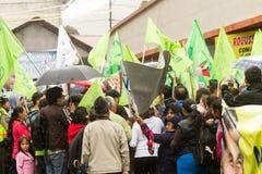 Rafael Correa Supporters. Banos De Agua Santa, Ecuador - 23 June 2015: President Rafael Correa Supporters Waiting In The Rain His Arrival In Banos De Agua Santa Stock Photo